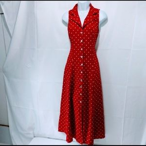 Red Polka Dot Dress Barn Button Up Maxi Dress